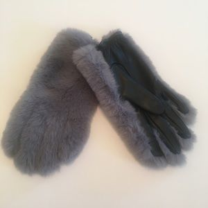 TOPSHOP leather and faux fur gloves